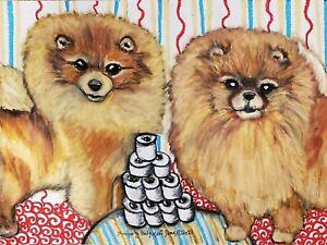 Pomeranian Hoarding TP 13x19 Dog Art Print Signed by Artist KSams Pom Painting