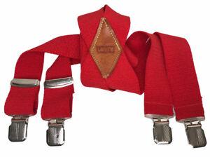 VTG Men's Levi's Red Soft & Stretchy Clip Suspenders Hipster Preppy Lumberjack