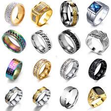 Men Stainless Steel Titanium Band Ring Wedding Engagement Crystal Rings Size7-13