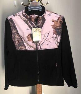 NWT Yukon Gear Mossy Oak Sz Large Black Pink Camo FLEECE  Thermal Jacket