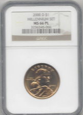 2000-D $1 Millennium Set Sacagawea NGC MS66PL Brown Label