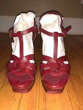 Saint Laurent Paris YSL Tribute Red Platform Sandals 38 8