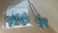 Turquoise Drop Earring Crystal Butterfly Pendant Necklace Set for Women GRE K8i4