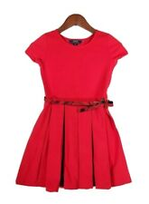 Polo Ralph Lauren Girl's Red Half Sleeve Pleated Party Dress with Belt M(8-10)