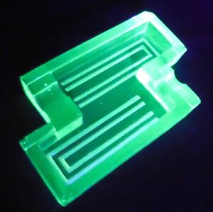 Art Deco Green Uranium Glass Geometric Angular Ashtray Pin Dish 1930s