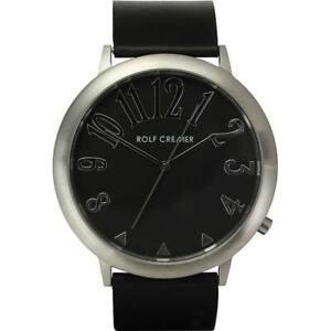 ROLF CREMER Serie JUMBO II 495103 schwarz rund groß Lederarmband Uhr NEU UNISEX
