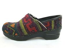 Dansko 37 Aztec Knit Clog Multicolor Slip On Southwestern Tapestry Comfort Mules
