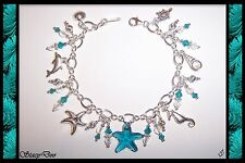 **  NAUTICAL SEA LIFE STERLING SILVER CHARM BRACELET(327)