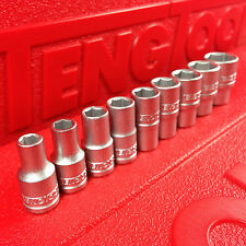 """Teng Tools 1/4"""" Imperial A/F 9 Piece Socket Set, 6 Point, 3/16"""" - 1/2""""."""