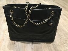 Chanel Vintage Small Tote Bag, Black Leather With Gold Hardware
