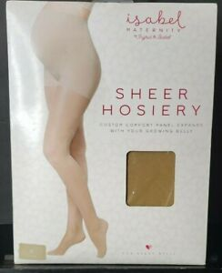 Isabel Maternity Sheer Hosiery Comfort Panel Growing Belly Small Nude