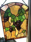 Antique+Mid+Century+Stained+Glass+Art+Window+Panel+13.5%E2%80%9D+X+9.5%E2%80%9D+Grapes+Vintage
