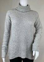 Chelsea 28 Turtleneck Tunic Sweater Heather Grey Hi Low Pima Cotton Blend Size S