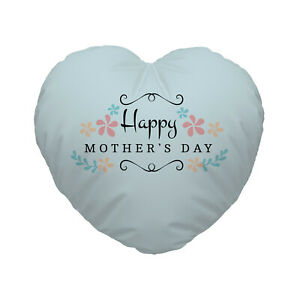 Happy Mother's Day Flower Pale Blue Design Heart Shaped Cushion Gift Present