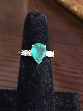 Ladies pear-shaped Emerald and diamond ring