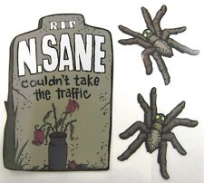 Halloween Magnet N SANE Tombstone + Spiders car bumper fridge stickers Mad Mags