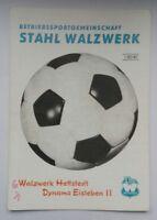 Programm 4.9.82 Stahl Walzwerk Hettstedt  Dynamo Eisleben 2 Bezirksl. Fussball