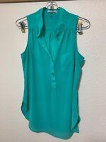 XTAREN Women's Neon Teal 2 Button Placket Sleeveless V-Neck Blouse Sz S