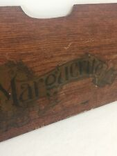 """Antique Sewing Machine Marguerite Wood Name Front Plate Wall Hanging Decor 19x7"""""""