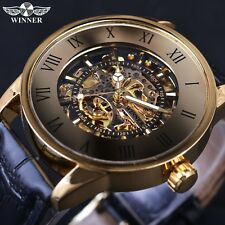 Winner Bronze Retro Design Roman Number Display Golden Movement Casual Watches