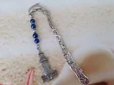 NAUTICAL DOLPHIN HOOK PEWTER LIGHTHOUSE CHARM BLUE PEARL BEADS SPACERS BOOKMARK