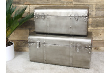 Set of Two Brushed Silver Industrial Metal Storage Trunks Catches Pewter Grey