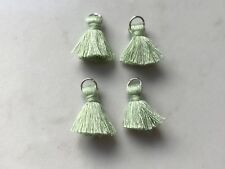 4 x Cotton Tassels 20mm 2cm Long - LIGHT GREEN - great for earring & accessories