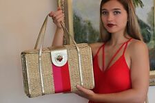 RARE Kate Spade Havana Luggage WICKER Straw BOX bag Quinn Picnic Basket Purse