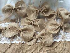 12 handmade primitive burlap bows wedding decor or Christmas tree bows ornaments