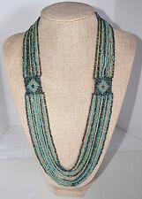 Pratima Beaded Necklace Blue, Grey & Tan Hand Made by Artisans Fair Trade