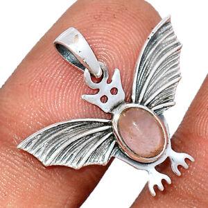 Bat - Rose Quartz - Madagascar 925 Sterling Silver Pendant Jewelry BP91411