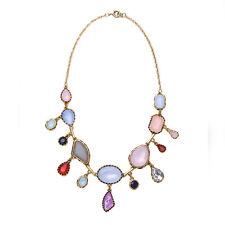 Collar Dorado Corto Gota Irregular Multicolor Rosa Azul Malva Gris Retro QT 2