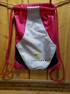 Nike Drawstring Bag Live Strong White Black Pink Backpack Athletic Sports