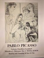 Pablo Picasso Werbe-Plakat der Ausstellung Galerie Dorothea Leonhart 1970