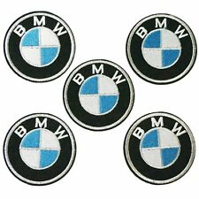 5 pieces, 2.4 Inches Silver BMW Logo Sew Iron On Embroidery Applique Patch