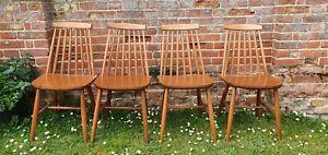 4 x Ercol Style Danish Retro Vintage MCM Mid Century Dining Chairs 1960s