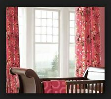 Pottery Barn Emmy Monkey Tropical Nursing Kids Girls Floral Pink Lined Curtain