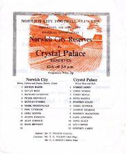 Norwich City V Crystal Palace reservas programa 11.4.1979