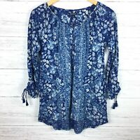 NEW Lucky Brand Women's Blue Floral Print Top Peasant Tunic Blouse Boho FLAWED