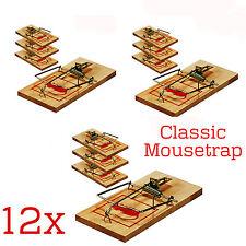 12 X Trampas de ratón de Madera Tradicional Clásico control de plagas roedores cebo