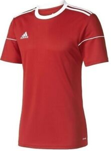 New Boys Junior Kids Adidas Squadra Logo T-Shirt Top Football Soccer Sports Red