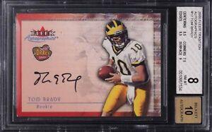 2000 Fleer Tradition Autographics Tom Brady RC Rookie Card BGS 8 w/10 Auto PMJS