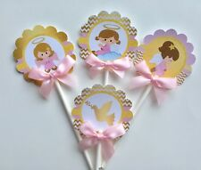 Baptism  angel cupcake topper/Baptism theme/ Pink and Gold cupcake toppers 1dz