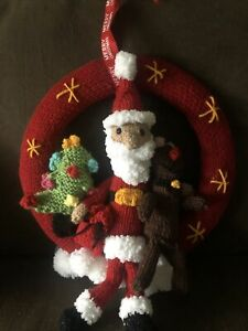 Hand Knitted Christmas Wreath - Santa