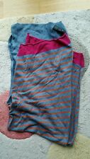 H&M teal pink orange cotton viscose angora mix striped scarf shawl excellent con