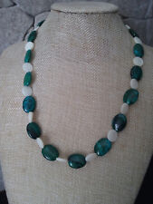 """19 1/2"""" HANDMADE SILVER PLATED GREEN CHRYSOCOLLA & MOTHER OF PEARL NECKLACE"""