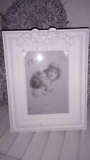 Picture Frame Cottage Vintage Shabby Chic Silver Baroque Brocade