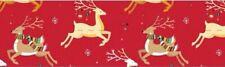 "1"" 2 Yards Christmas Grosgrain Ribbon Reindeer Hair Bows Gift Wrap Cards Red"