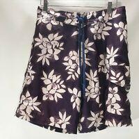 Driving Force Swim Board Shorts Purple Tropical Print Size M Medium Mens