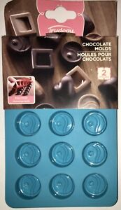 "NEW Trudeau Blue Silicone Chocolate Molds ~ Great For Spring! 2 Trays 1"" Circles"